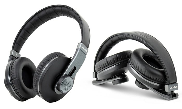 image on JLab Audio OMNI Premium Folding Bluetooth-Wireless-Over-Ear Headphone with Mic & Carrying Case Black Pearl